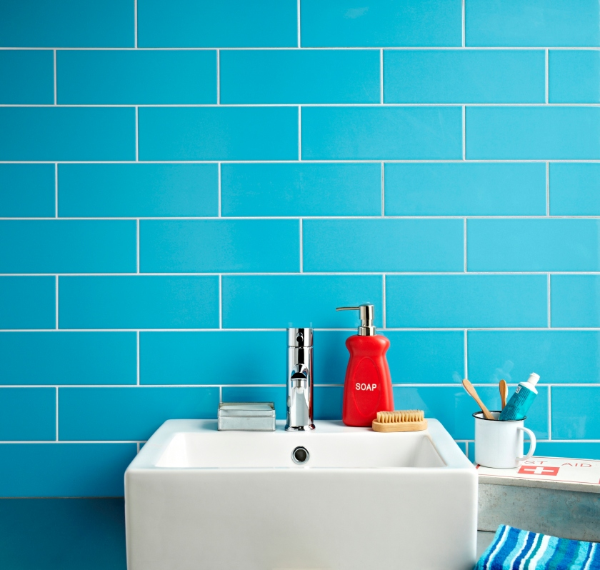 Lifestyle 1 Linear Blue Gloss Wall Tiles Tile Mountain